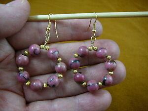 (EE-800-16) Pink Rhodonite 8 mm beaded gemstone hoop dangle circle earrings gold