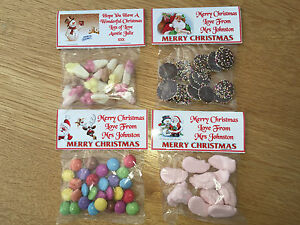 30 Personalised Christmas Sweet bag WRAPPERS Gift / favour posted 1st class
