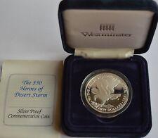 1991 50 Dollari Isole Marshall Eroi di Desert Storm argento Proof Coin COA + VALIGETTA