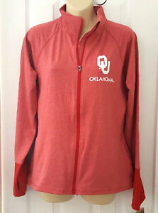 OKLAHOMA SOONERS Womens Jacket Size Large 12/14 Track Style Zip Front Red New