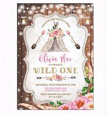 Floral Boho First 1st Birthday Invitation Wild One Tribal Teepee Party Invite