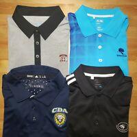 Lot of 4 ~ Adidas Climacool Golf Polo Shirt Short Sleeve Black Men's Sz Large
