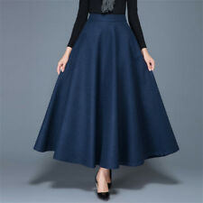 Ladies Faux Wool Skirt Solid A-line Vintage Warm Half Dress with Pocket Casual