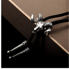 Ram Bolo Tie Bola Necktie Pendant Braided Shoestring Necklace Western Rodeo