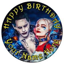 """SUICIDE SQUAD JOKER & HARLEY - 7.5"""" PERSONALISED ROUND EDIBLE ICING CAKE TOPPER"""