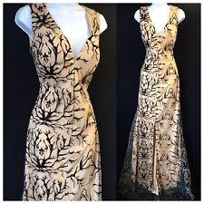 Vestido De Noche Hermoso Maxi Sirena Alfombra Roja Glam Fiesta De Mujer UK 8 Negro Beige
