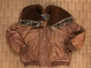 POLO RALPH LAUREN LEATHER SHEEP SKIN FUR BOMBER MILITARY JACKET BROWN XL