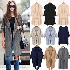 Women's Waterfall Slack Cardigan Long Jacket Trench Coat Outwear Autumn Winter