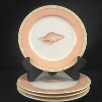Set of 4 VTG Salad Plates Victoria and Beale Atlantis Peach Coral Sea Shells