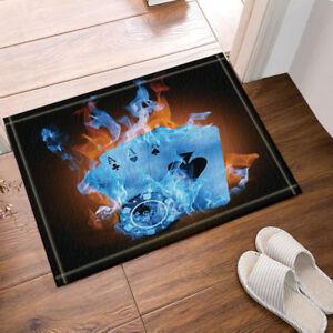 Modern Four Blue Flame Poker Non Slip Flannel Rug Warm Carpet Bathroom Door Mat