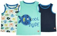 Boys PACK OF 3 Miami Beach Sealife Cotton Vest Cool Dude Tank Tops 1 to 6 Years