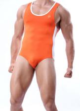 Men Brave Person Small Orange Spandex Nylon Sexy Singlet Leotard Bodysuit Gay UK