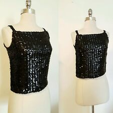1960s Vintage Women's Black Sequined Cocktail Party Evening Top Size Medium