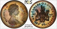 1971 CANADA 1 ONE DOLLAR SILVER PCGS SP65 PROOF MONSTER TONED UNC COLOR GEM (DR)
