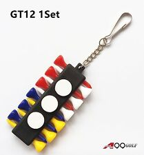 1set of A99 Golf GT12 Tee Holder Carrier with 12 Plastic Tees w 3 Ball Markers