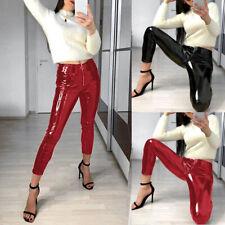 Vinyl Look Wet High Shiny Leggings Ladies Pvc Pants Disco Women Skinny Trousers