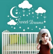 Sweet Dreams Moon Stars Clouds Wall Decal Nursery Childs Bedroom Baby - WHITE