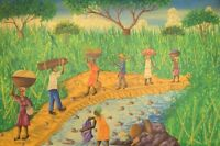 Emile, Haitian artist. Naivist school. Oil on canvas. 1970's. Local workers