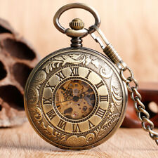 Retro Bronze Skeleton Hand Winding Mechanical Men's Pocket Watch Pendant Chain
