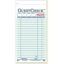 """Two-Part Carbonless 17-Line GuestChecks Green 6.75"""" L x 3.5"""" W 