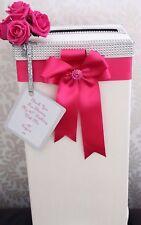 Wedding Card Post Box Birthday Anniversary Hot Pink Flowers & Satin Ribbon