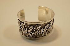 "NICE MEXICO STERLING SILVER MAYAN AZTEC CUFF BRACELET 1 1/2"" WIDE  A340"