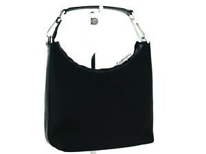 Auth GUCCI Black Canvas & Leather Mini Hobo Hand Bag Purse 200047 Italy Good