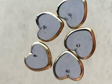 Vintage Blue Glass Heart Beads Gold Foil Border Pendant Made in Germany