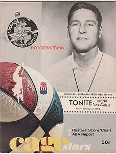1968/69 DENVER ROCKETS ABA HOME PROGRAM VS LA STARS BILL SHARMAN COVER VERY RARE