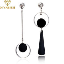EARRINGS - Geometric Mismatched Long Asymmetric  Silver and Black