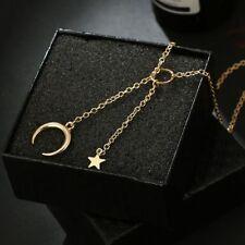 Chic lune étoile pendentif collier tour de cou or argent longue chaîne bijoux