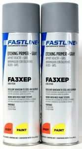 2 Fastline 15 Oz FA3XEP Etching Primer Gray Excellent Adhesion Body Paint Spray
