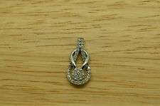 925 STERLING SILVER LOVE KNOT DIAMOND PENDANT CHARM  #A3087