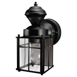 Hampton Bay Bayside Mission 150 Black Motion-Sensing Outdoor Wall Lantern Sconce