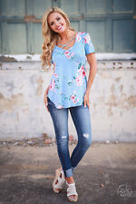 Women's Ladies Summer Boho Floral T Shirt Tops Shirts Loose Casual Blouse Tee L
