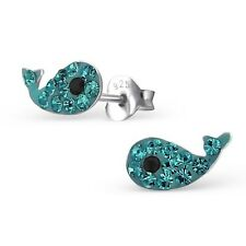 Sterling Silver 925 Blue Crystal Whale Stud Earrings