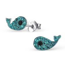Sterling Silver 925 Blue Crystal Whale Sea Stud Earrings