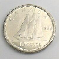 1963 Canada Ten 10 Cent Silver Dime Brilliant Uncirculated Canadian Coin H989