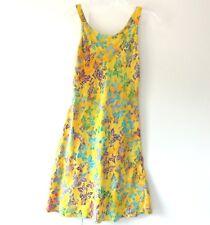 Ginger Snap Hawaiian Vintage Sundress Sleeveless Size Small Yellow Floral Print