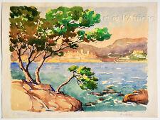 AQUARELLE originale signée L. Millet, ANTIBES vue du Cap, Art XXe, Watercolor