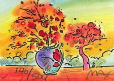 """Vase w/ Tree, Limited Edition Lithograph Mini 2"""" x 2.75"""" Peter Max SIGNED w/ COA"""
