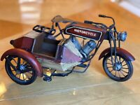 1930s Harley Davidson Motorcycle w/ sidecar vintage - handmade & collectible
