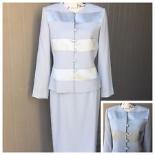 ADRIANA PAPELL Skirt Suit Blazer Color block Light Gray Career Work Sz 8
