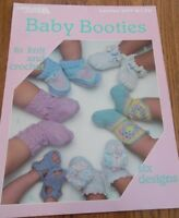 Baby Booties to knit and crochet 6 designs 1985 Leisure Arts Leaflet # 377