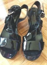 BCBG girls black lacquer wedge heel open toe leather slingback sandals shoes 7.5