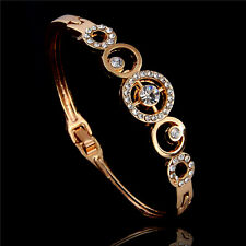 Hot Sale Pretty Lady 18k Rose Gold Plated Austrian crystal Bangle Bracelet