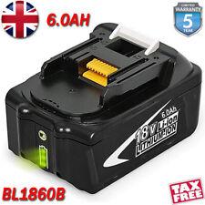 6.0Ah For Makita BL1860B 18v 6Ah LXT Li-ion Battery BL1850B BL1830B W/ LED Gauge