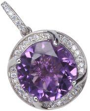 Amethyst Gemstone Dazzling Sterling Silver Pendant + Chain