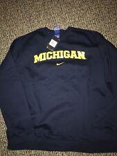 Michigan Wolverines Navy Blue Nike Crew Coach Pullover Sweatshirt XXL