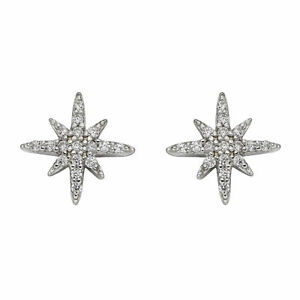 Beginnings 925 Sterling Silver Womens Pave Clear Cubic Zirconia Starburst Star